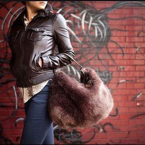 Sondra Roberts Faux Fur & Snake Shoulderbag, NWT